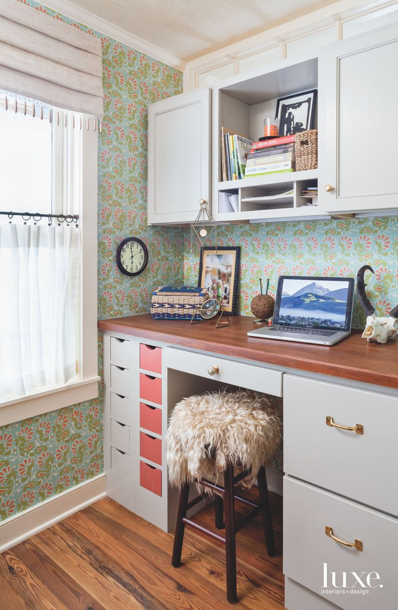 Office Nook with Vibrant Wallpaper and Furry Chair