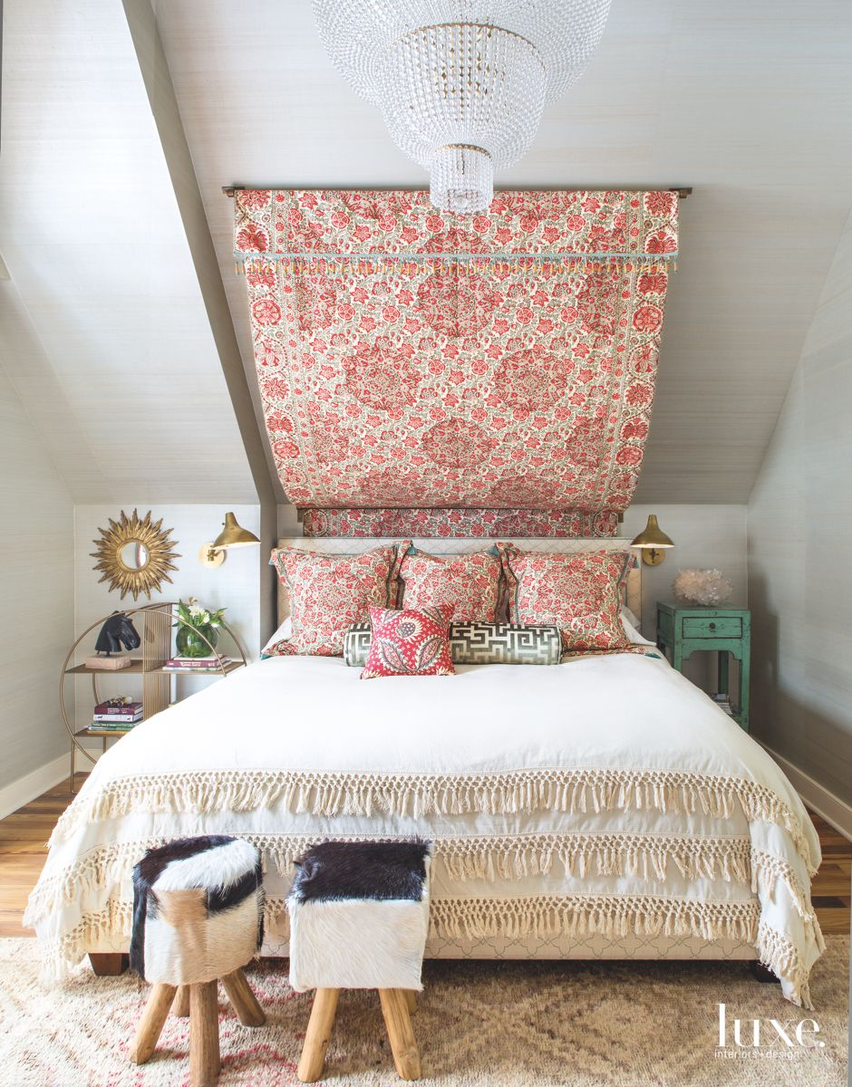 Canopy Headboard with Chandelier in the Master Bedroom