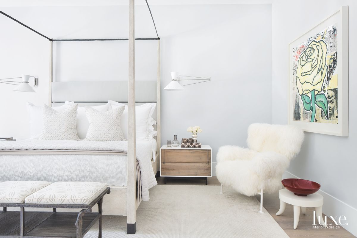 Master Bedroom with Fluffy Chair and Rose Art
