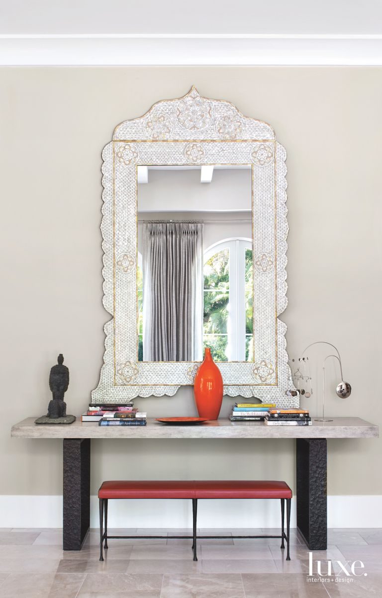 Moorish Mother of Pearl Mirror with Red Accents