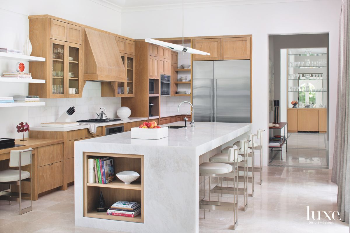 Lime-Washed Wooden Cabinetry with Marble Island