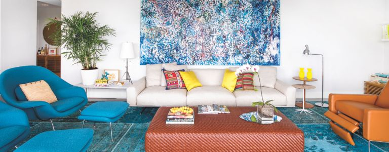 Bright Colors And Stunning Views Make This Miami Waterfront Condo Pop