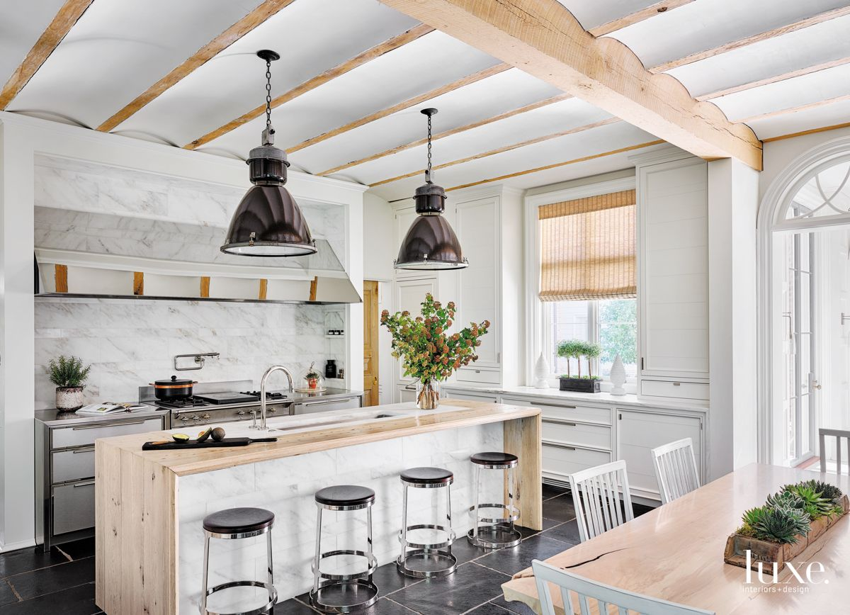 Open Kitchen as a Focal Point with Coffered Scalloped Ceilings