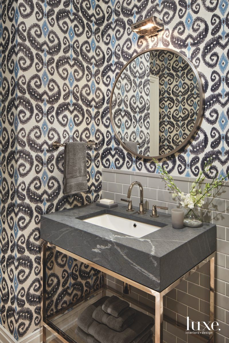 Paisley Style Wallpaper Pattern Powder Room with Copper Fixtures and Mirror