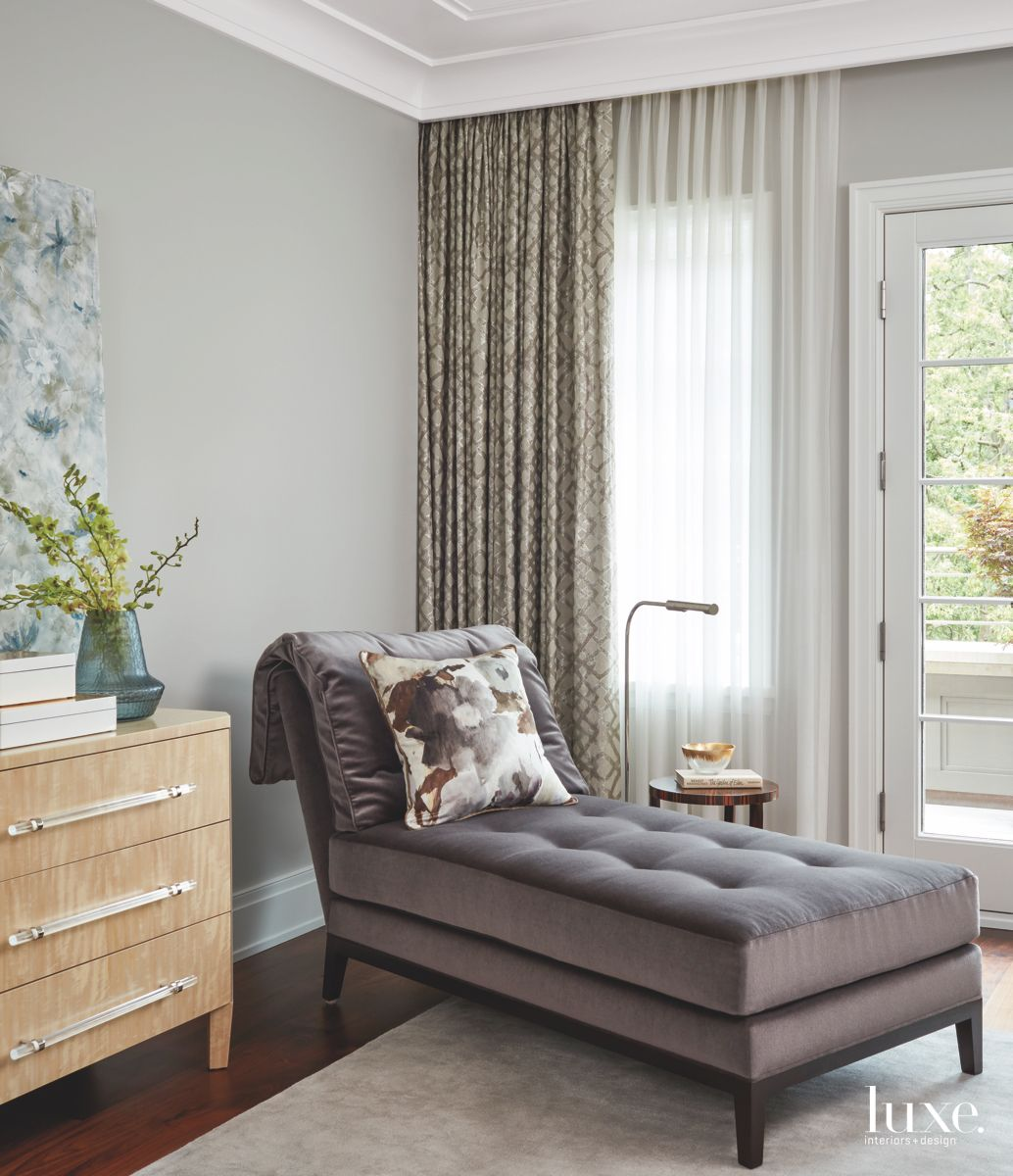 Gray Master Bedroom Chaise Lounge Chair with Dresser