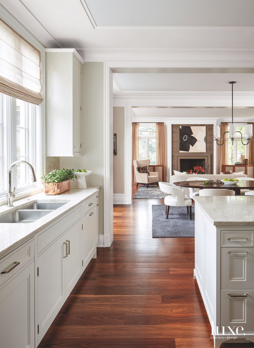 White Hinsdale Kitchen with Living Room View