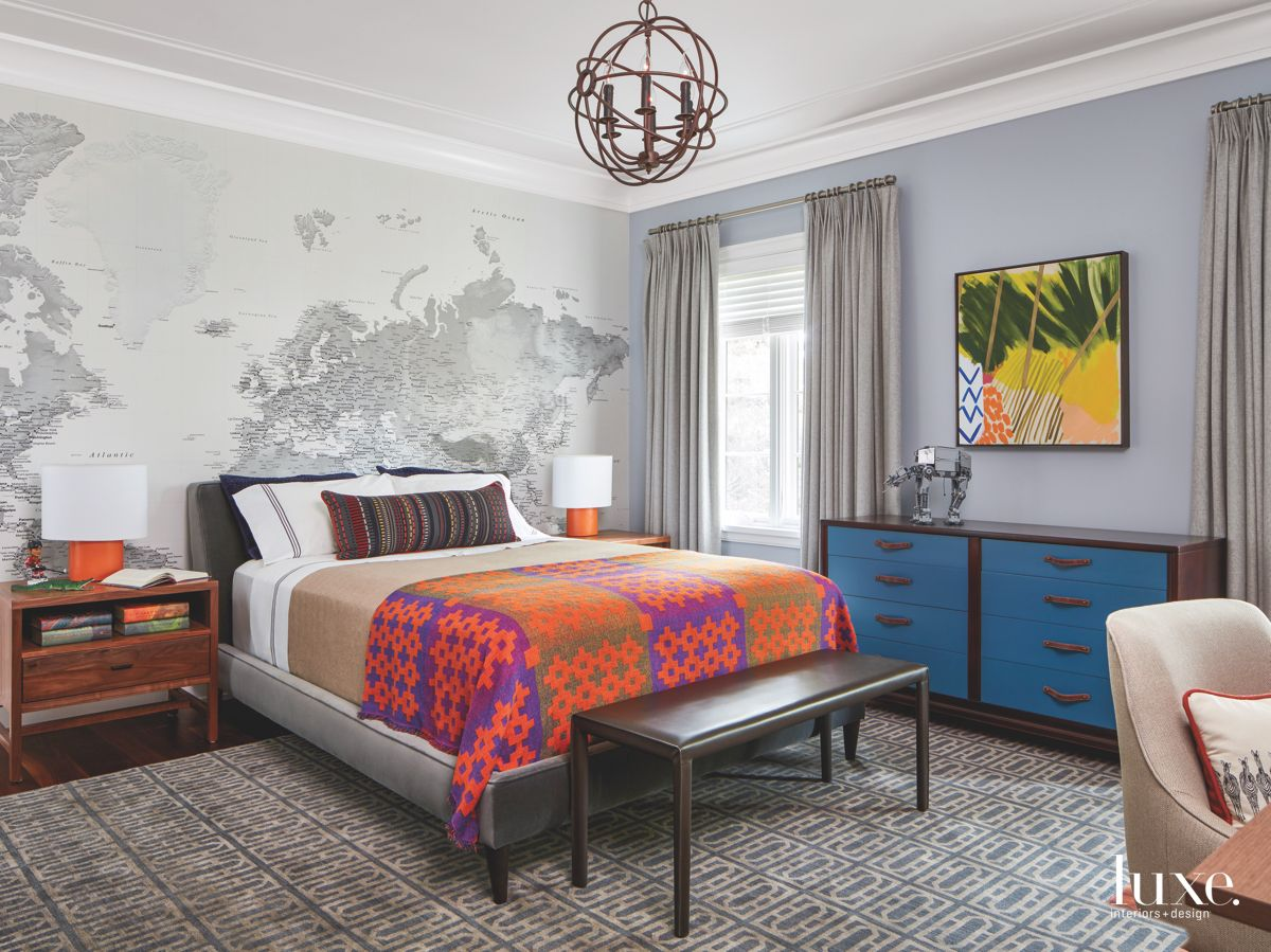 Map of the World Wallpaper Master Bedroom with Vibrant Throw and Artwork
