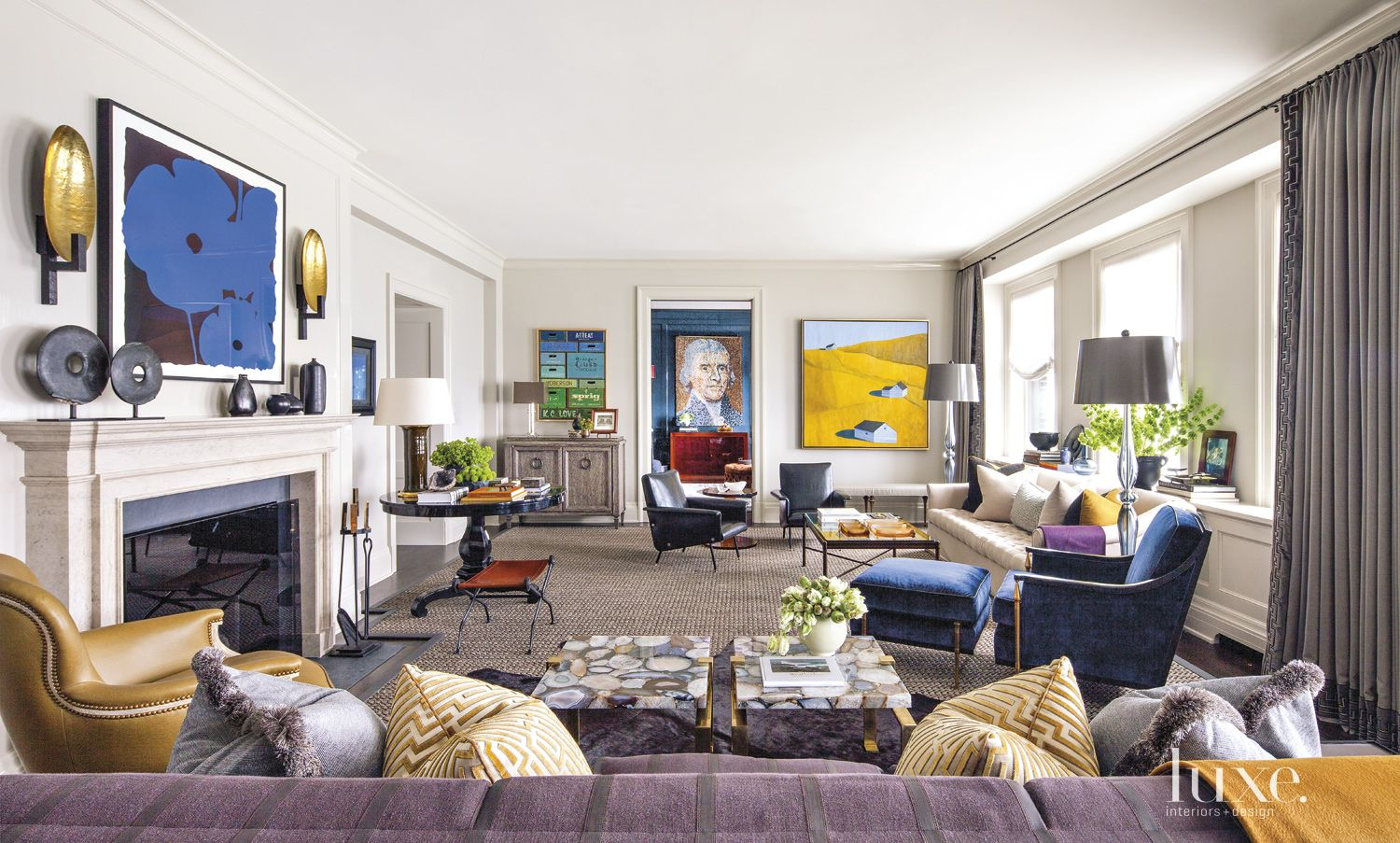 Eclectic Neutral Living Room with Agate-Topped Tables