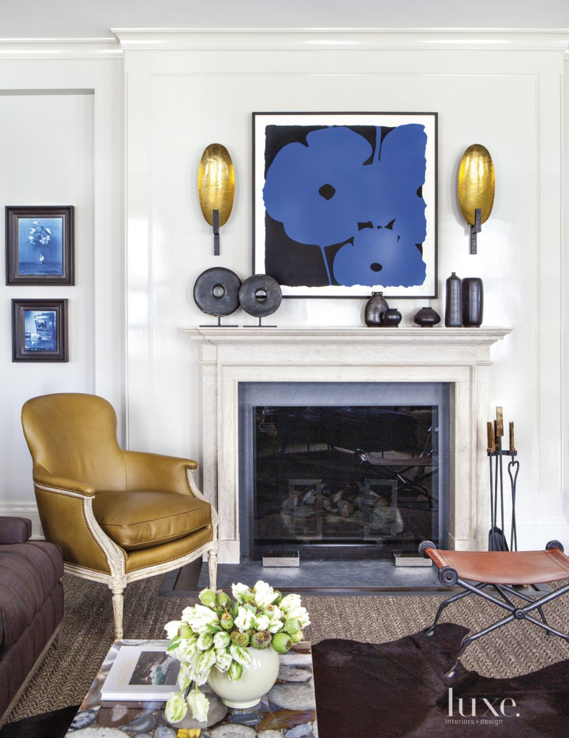 Eclectic Neutral Living Room with Poppy Artwork