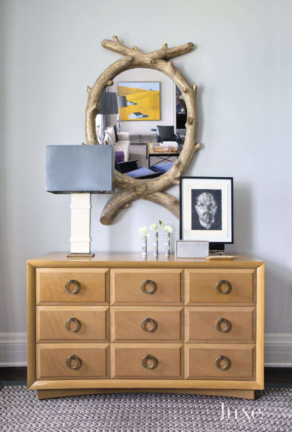 Eclectic Neutral Living Room Vignette with Antique Chest