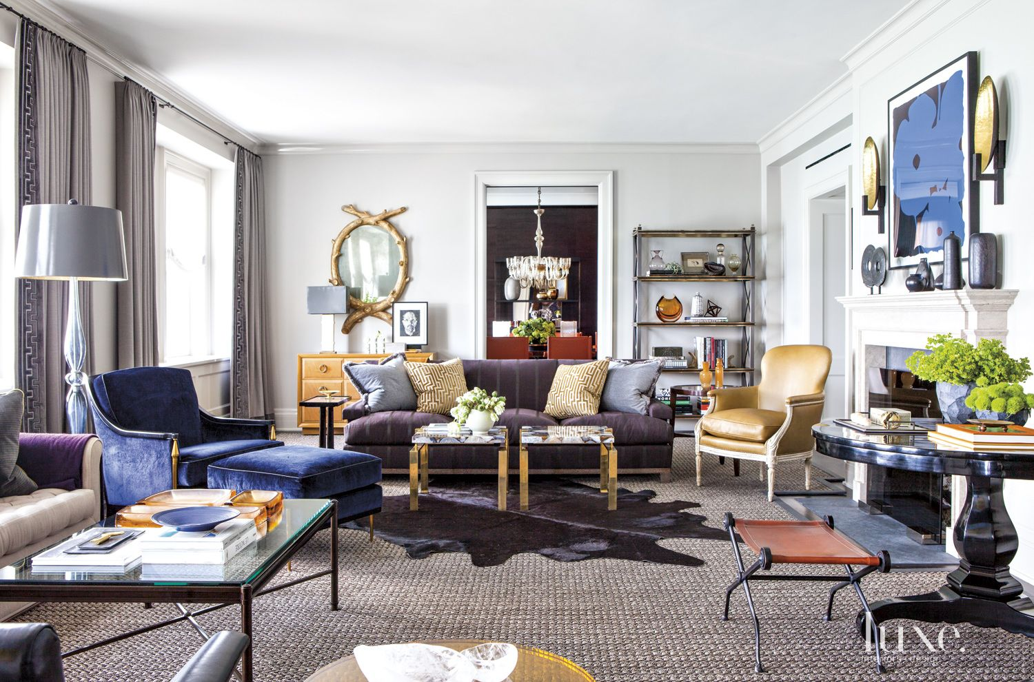 Eclectic Neutral Living Room with Sisal Rug