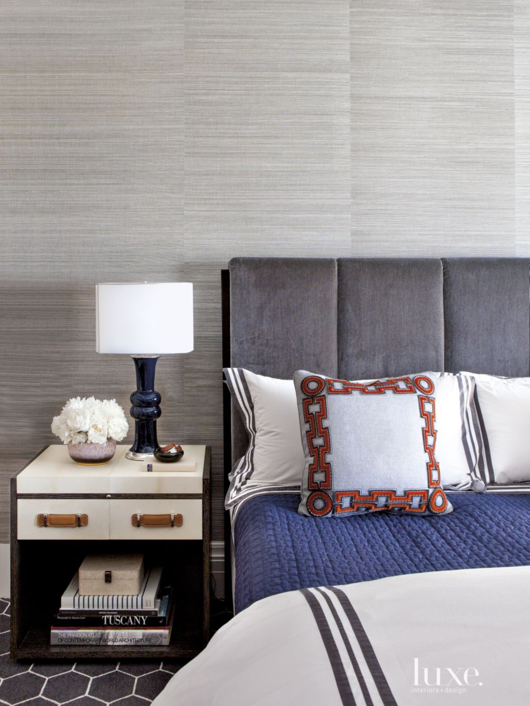 Eclectic Gray Bedroom with Hexagonal-Patterned Carpet