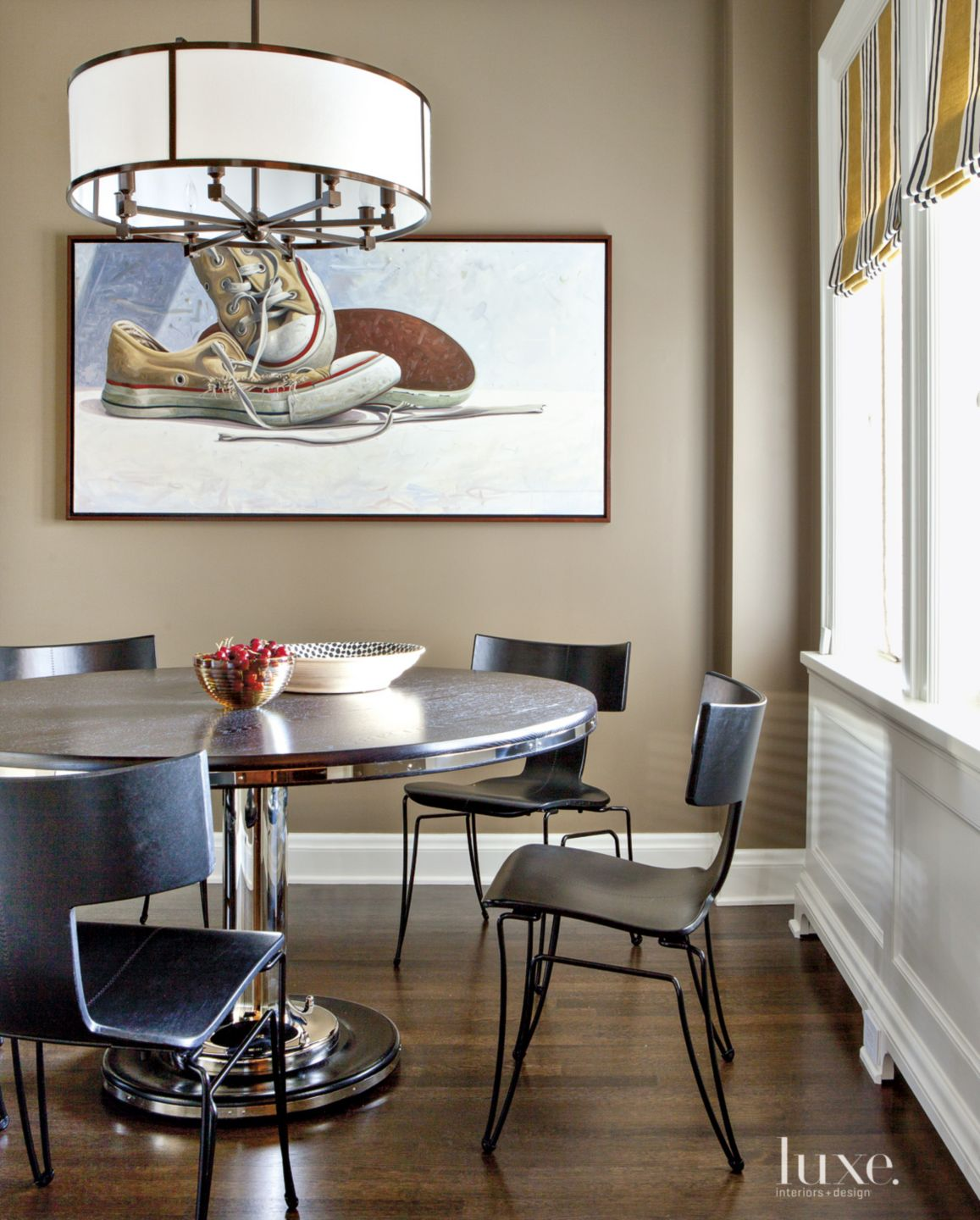 Eclectic Neutral Breakfast Area with Yacht Table