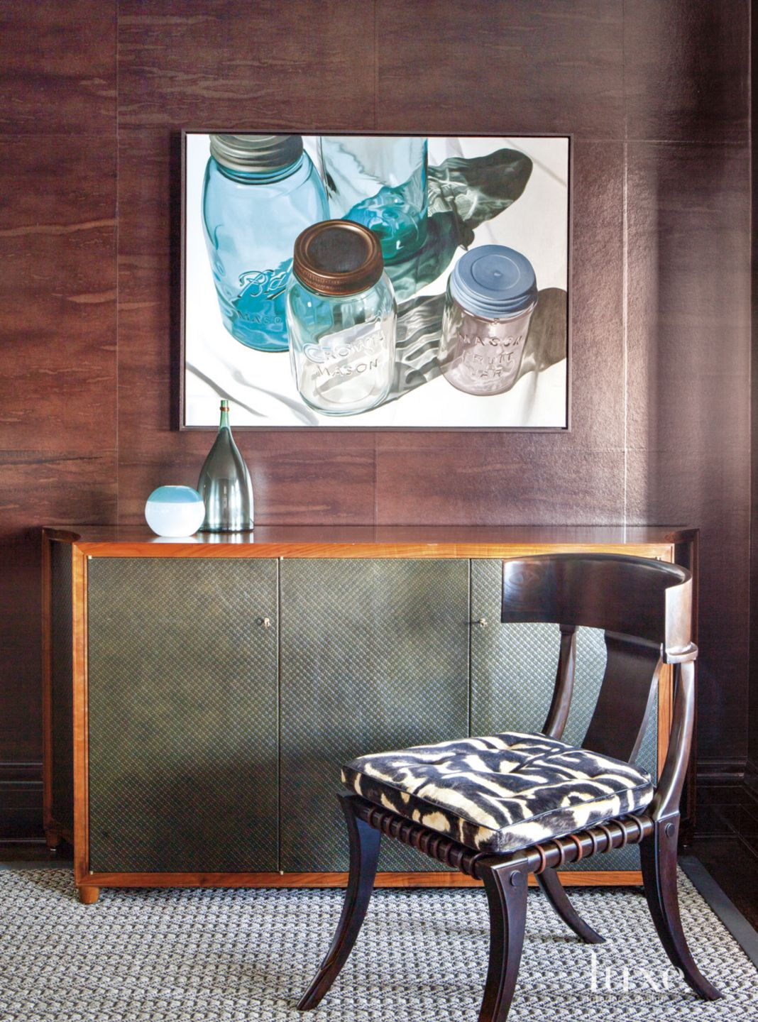 Eclectic Neutral Dining Room Vignette with Jar Painting