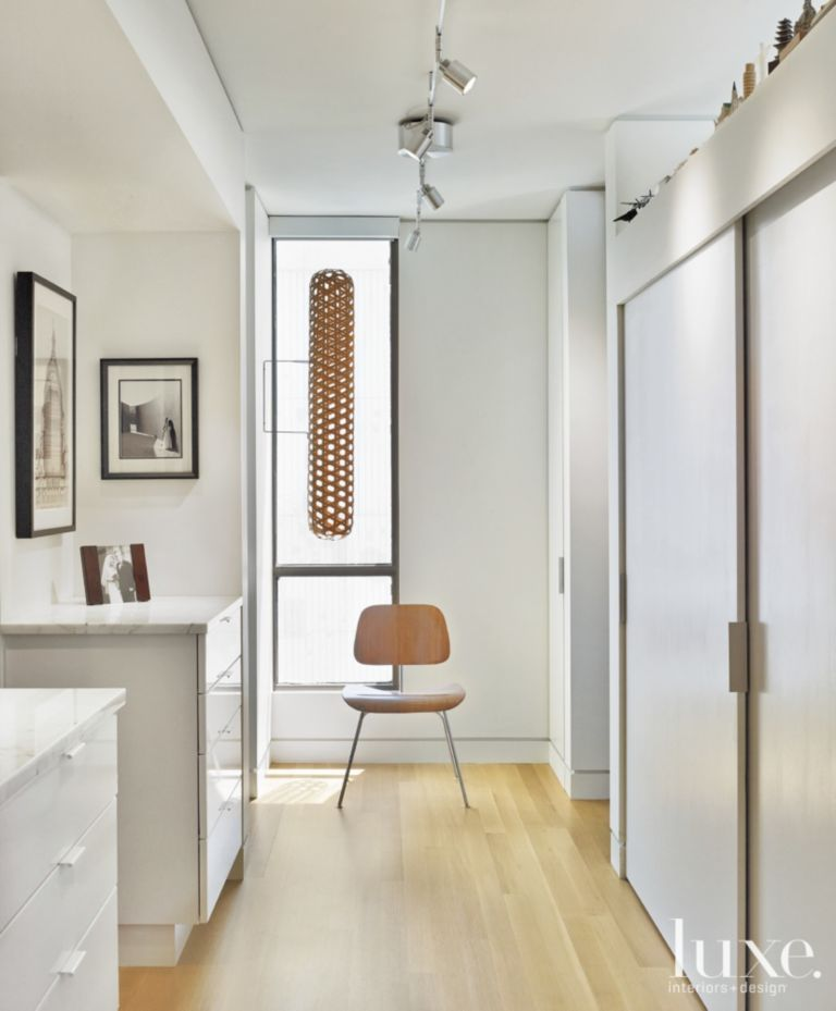 Contemporary White Hall With Closet Pocket Door Luxe Interiors