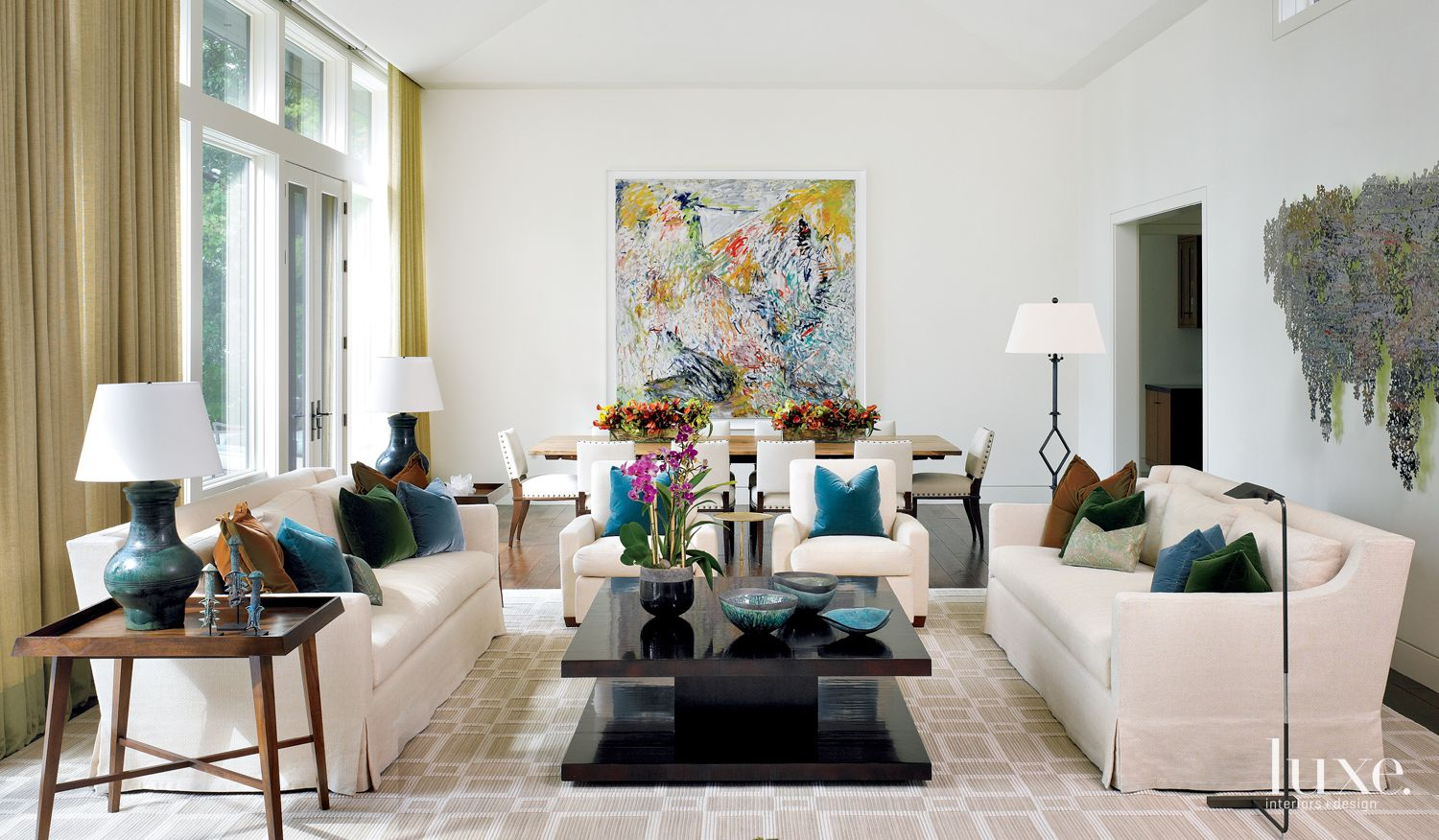 Contemporary White Living Room with Multicolored Accent Pillows