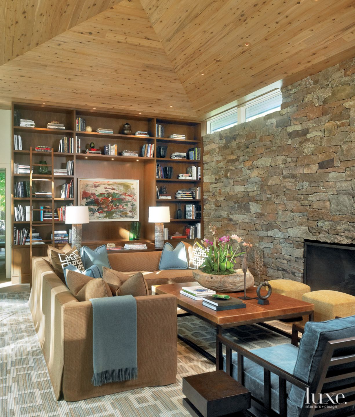 Contemporary Neutral Family Room with Moss Rock Wall