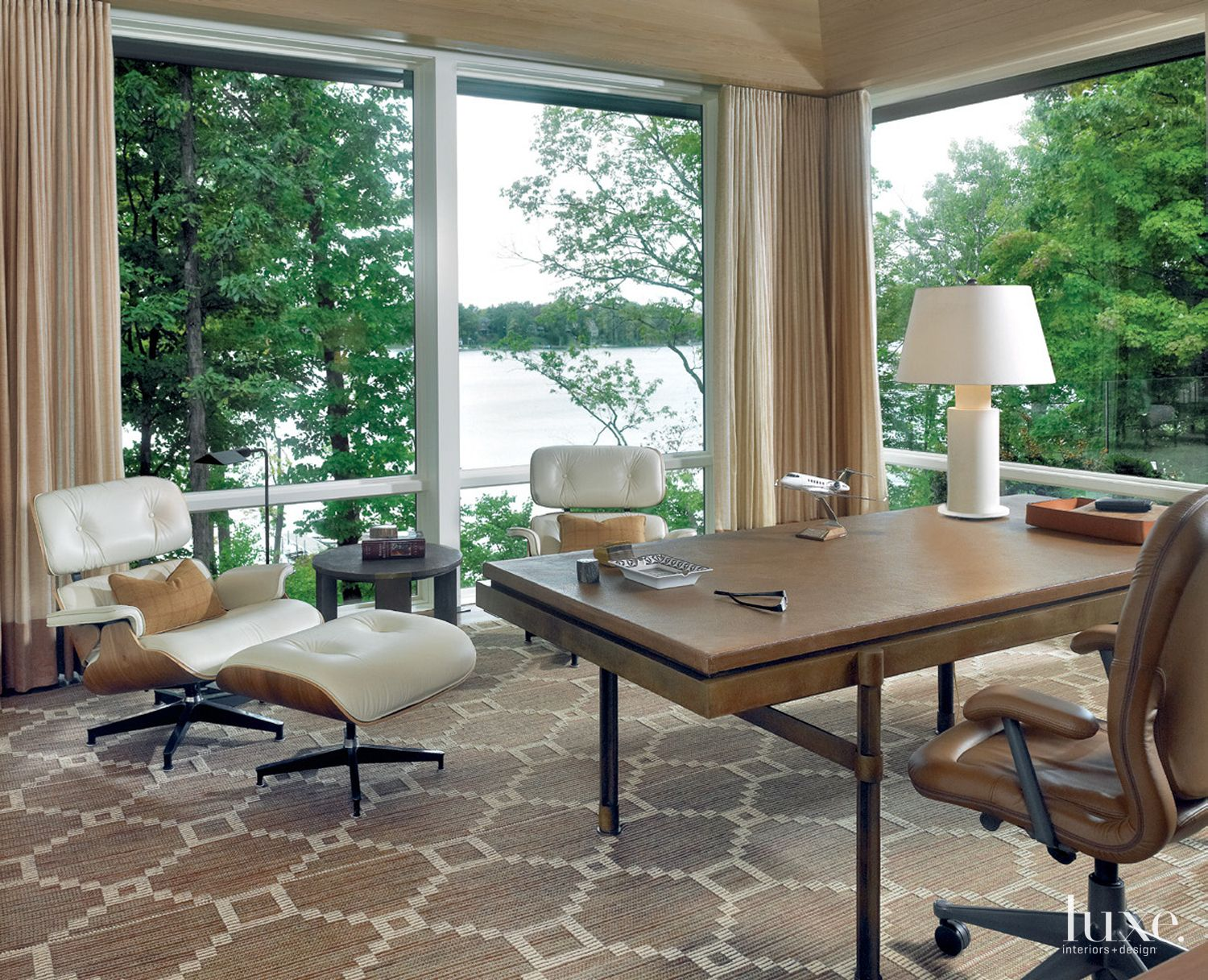 Contemporary Brown Office with Lake Views