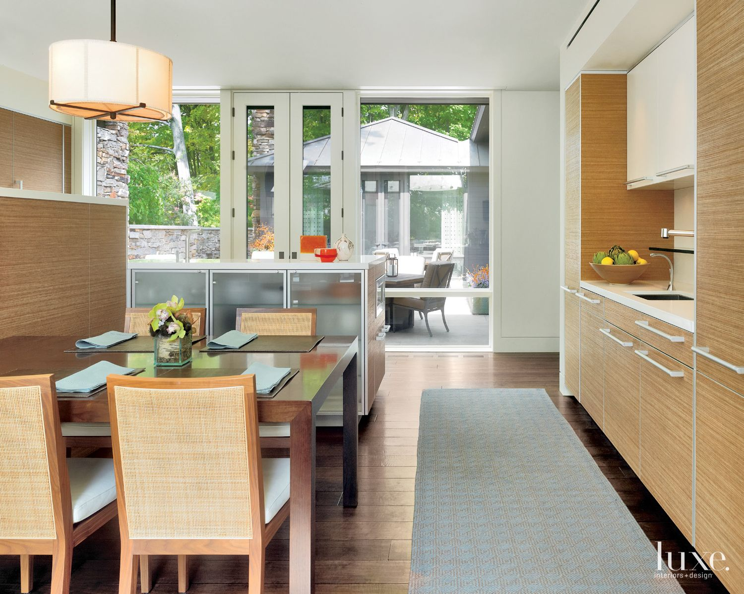 Contemporary White Kitchen with Drum Shade Pendant
