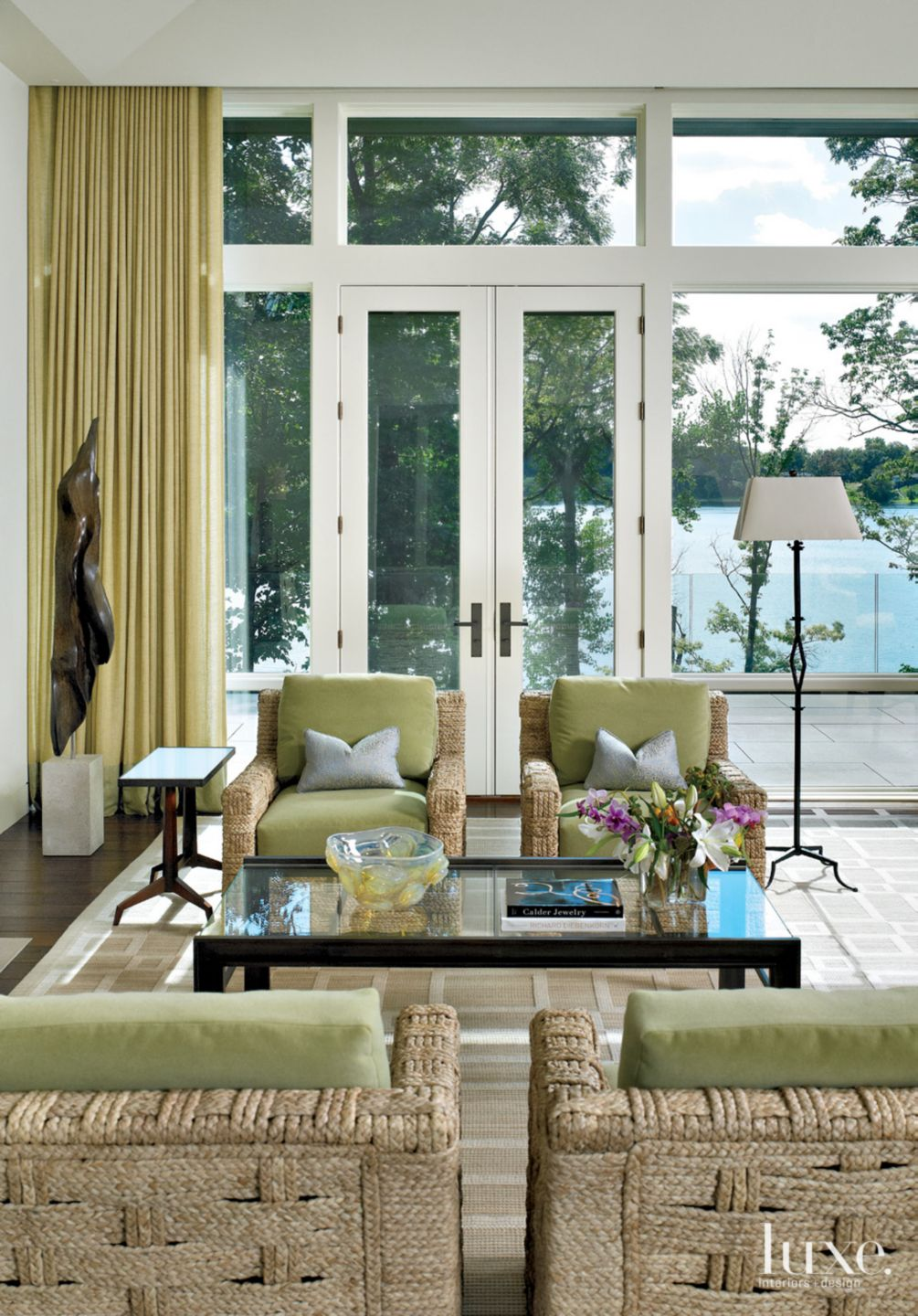 Contemporary White Sitting Area with Floor-to-Ceiling Windows