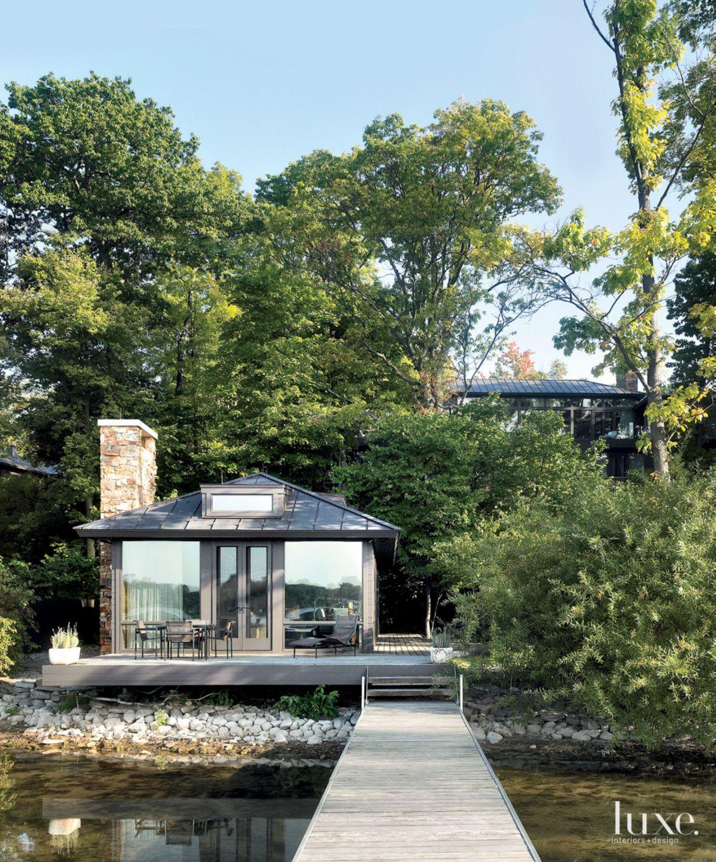 Contemporary Gray Cedar-Clad Boathouse