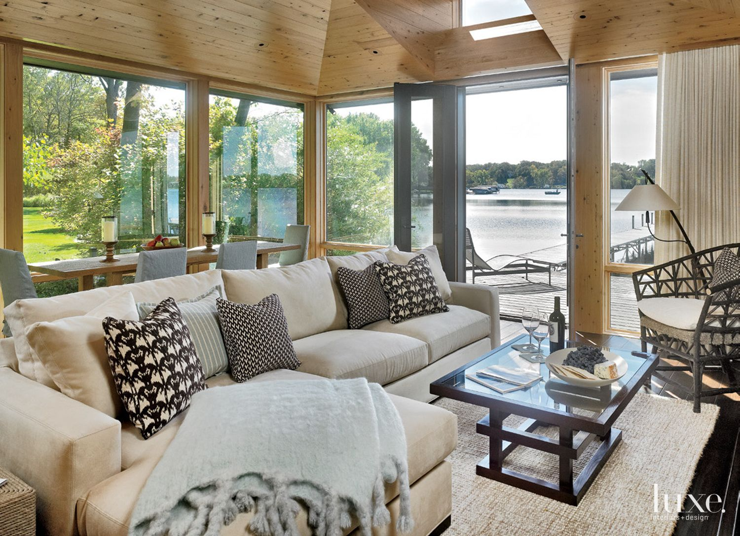 Contemporary Neutral Boathouse with Custom Coffee Table