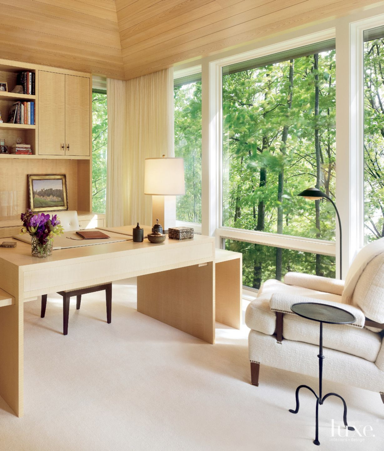 Contemporary Neutral Office with Picture Windows