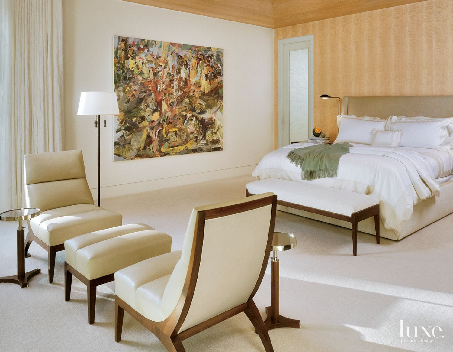 Contemporary White Bedroom with Artwork on Wall