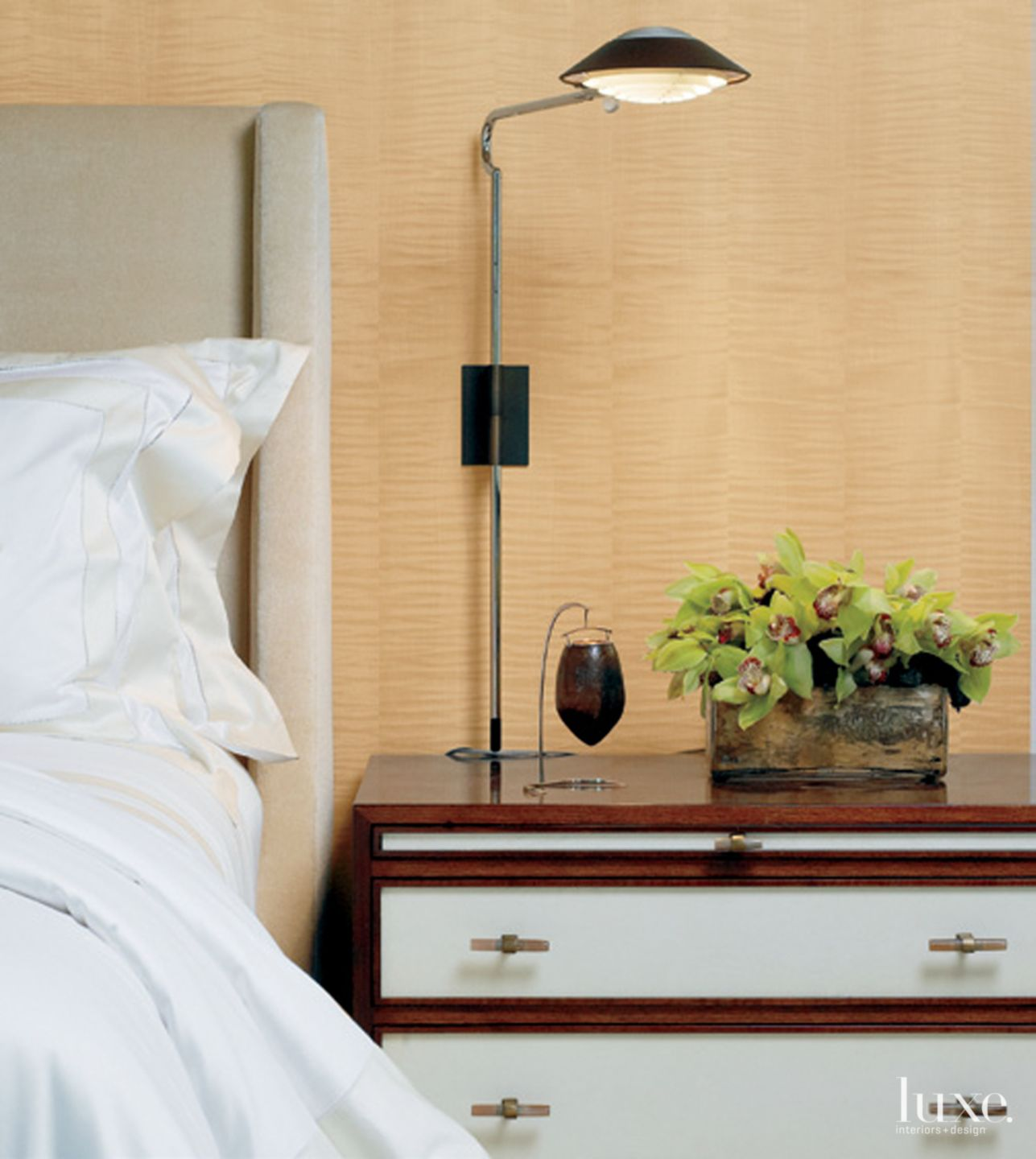 Contemporary Neutral Bedroom Detail with Vellum-Fronted Nightstand