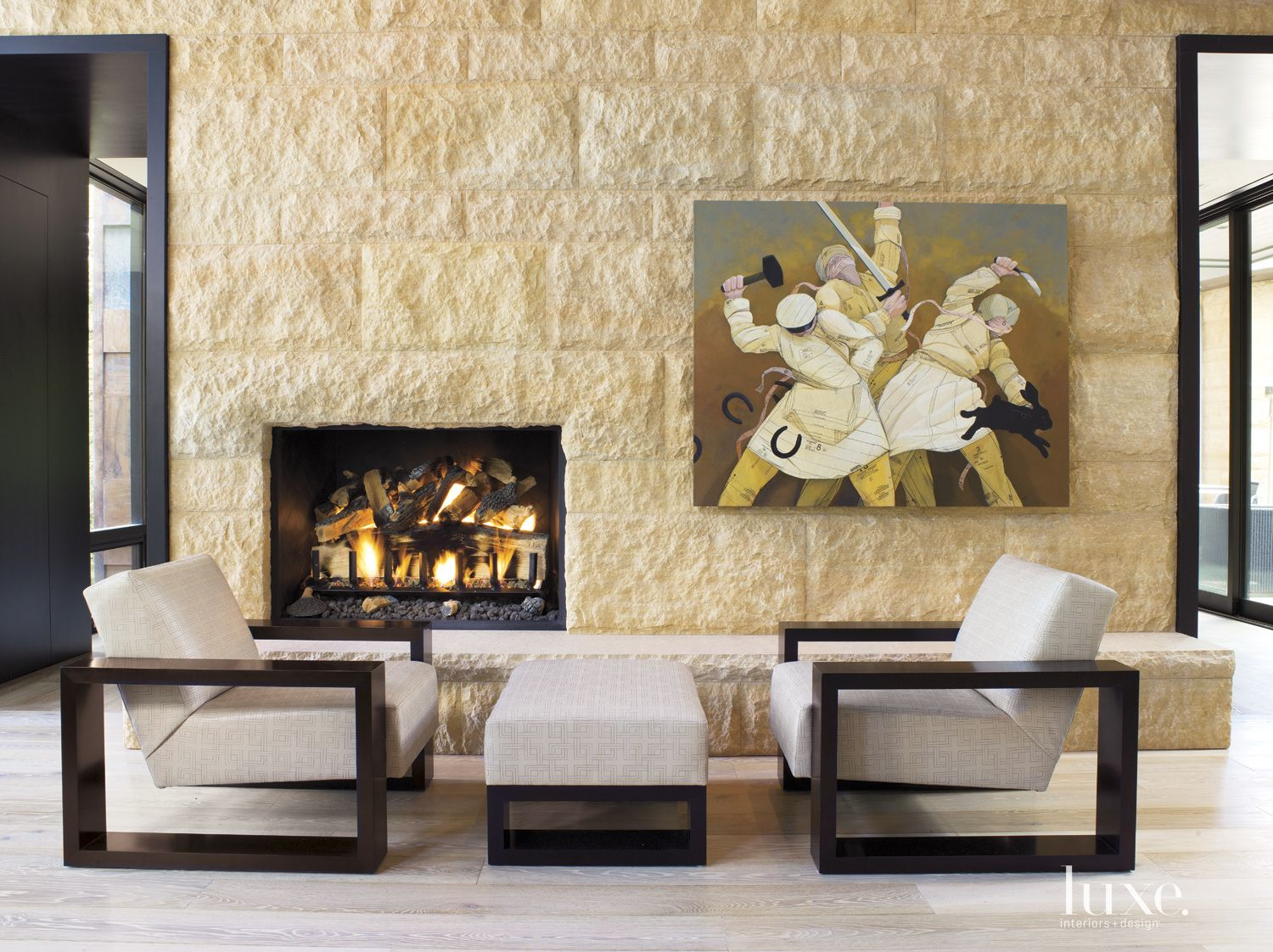 Contemporary Neutral Living Room with Limestone Wall