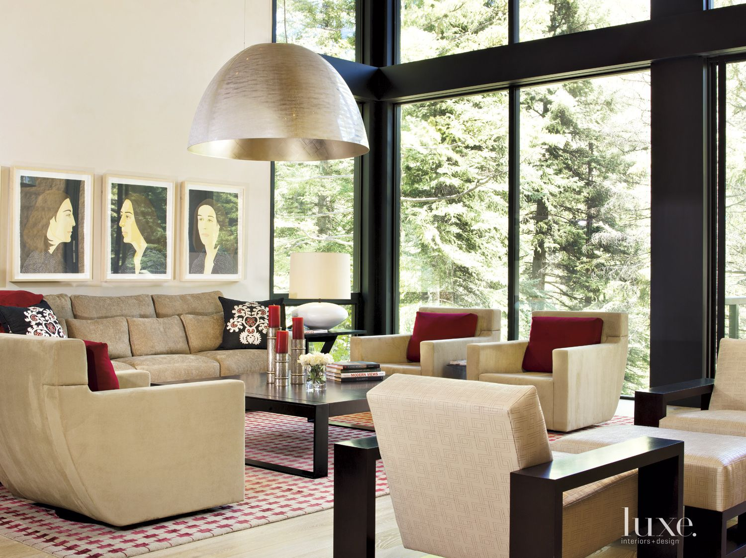 Contemporary Neutral Living Room with Portraits