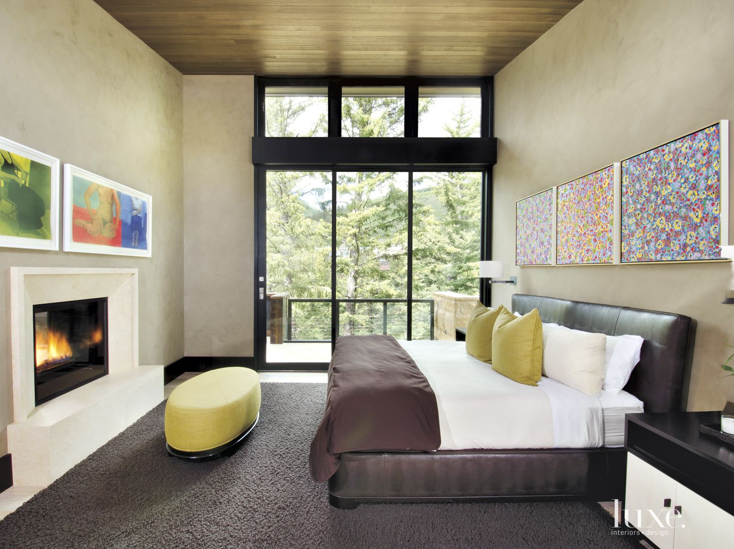Contemporary Neutral Bedroom with Oil Paintings