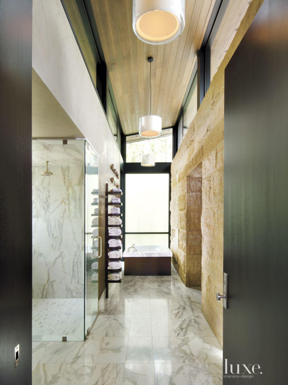 Contemporary Neutral Bathroom with Minnesota Limestone