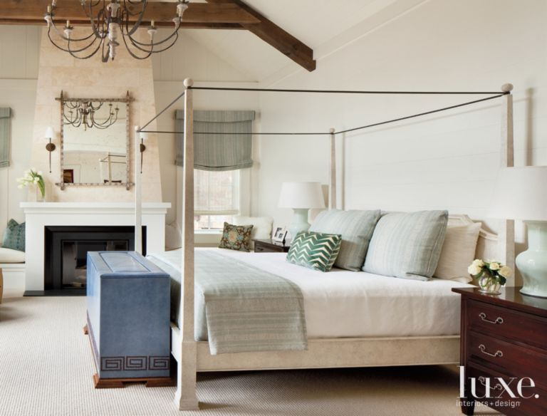 White Mountain Bedroom with Media Console  Luxe Interiors  Design