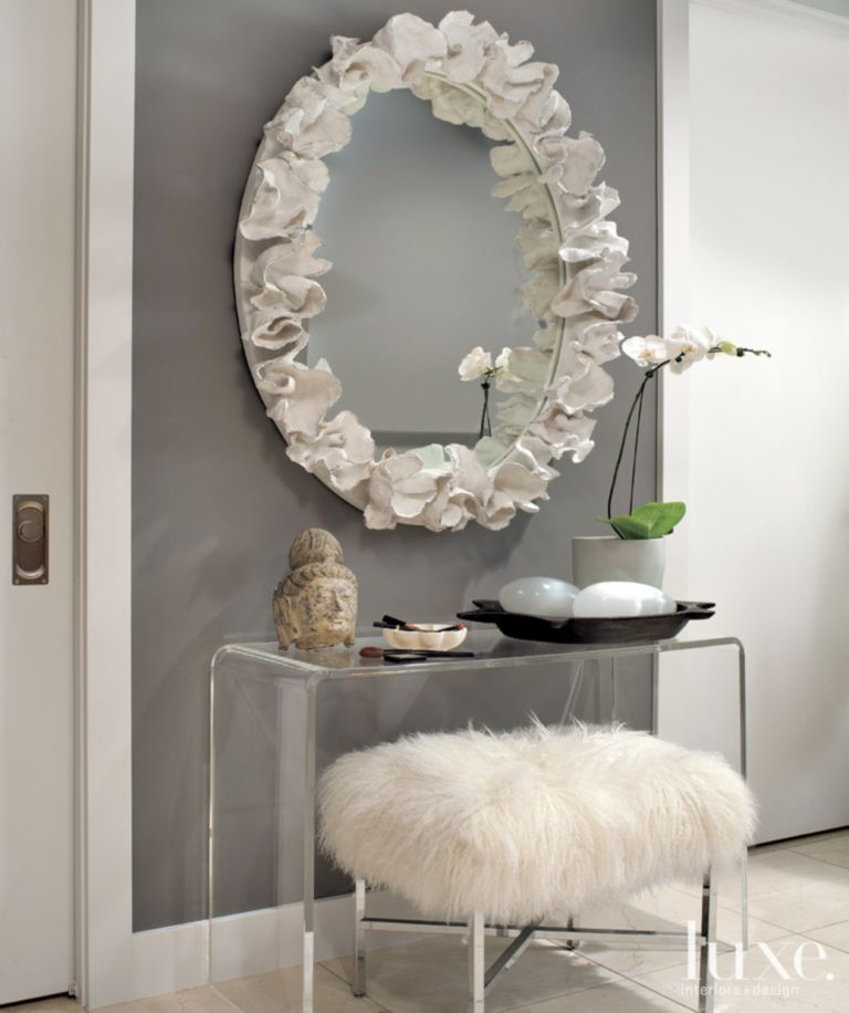 Contemporary Gray Living Room Detail with Faux Fur Bench - Luxe ...