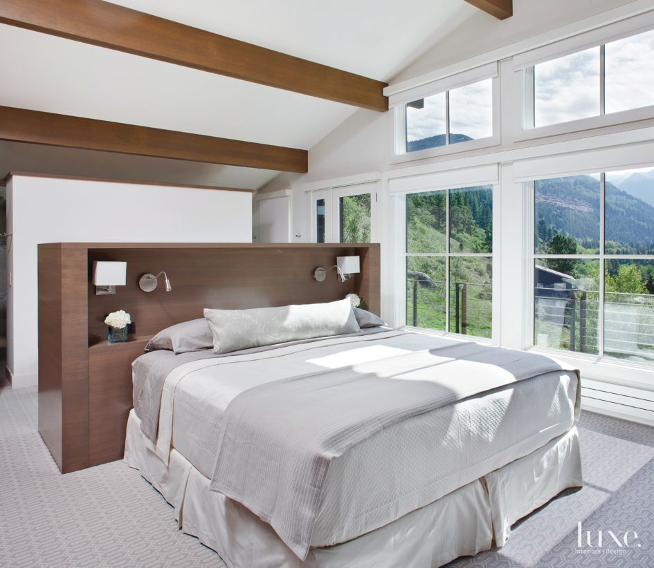 Contemporary White Master Bedroom with Freestanding Bed ...