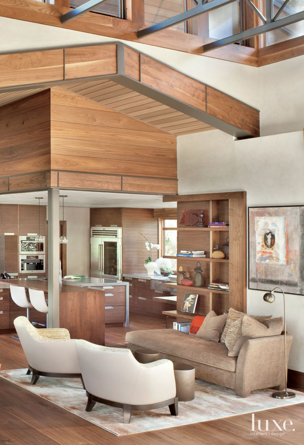 Neutral Mountain Kitchen-Adjacent Seating Area with Walnut-Clad Ceiling