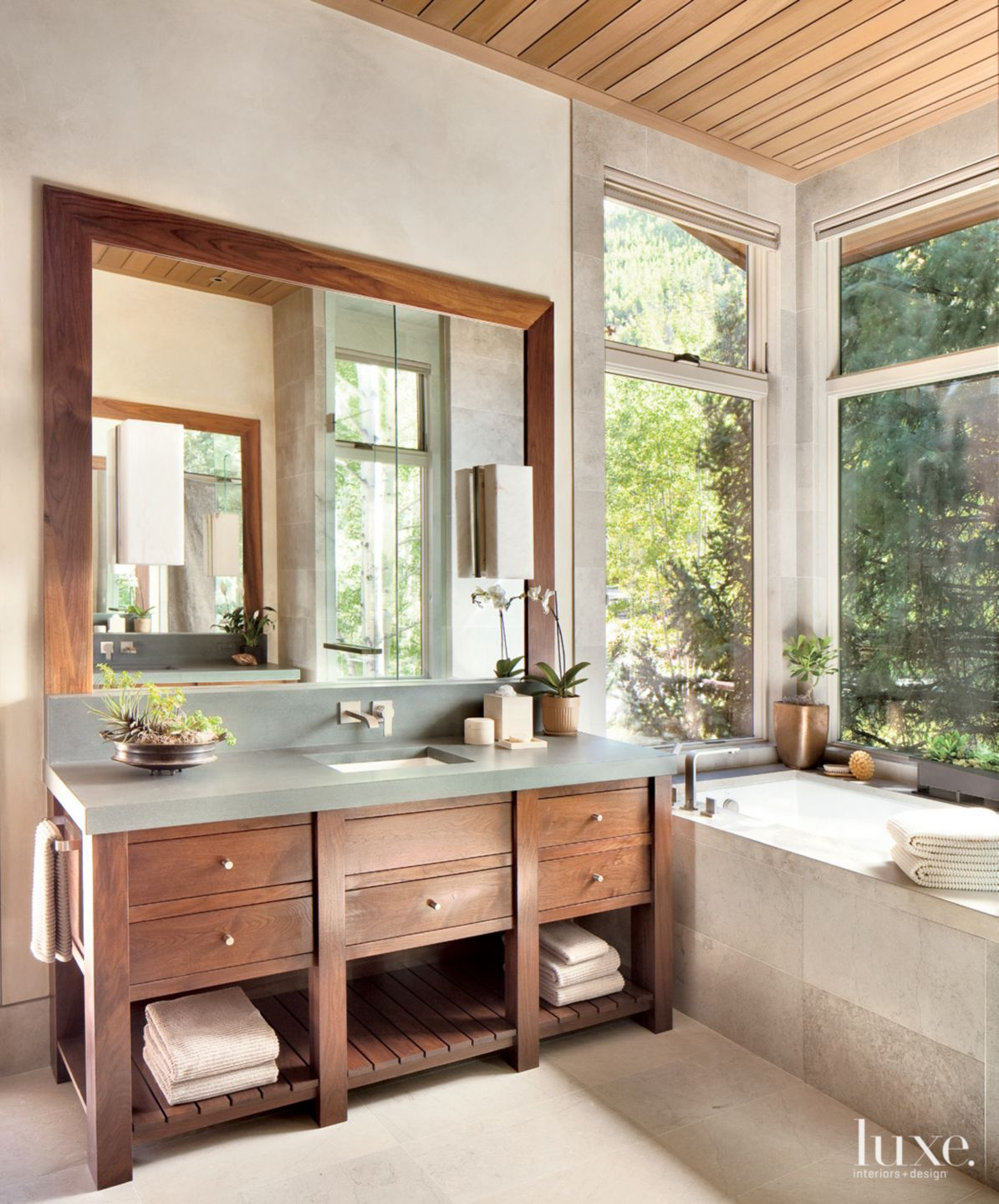 Neutral Mountain Master Bathroom with Window Wall