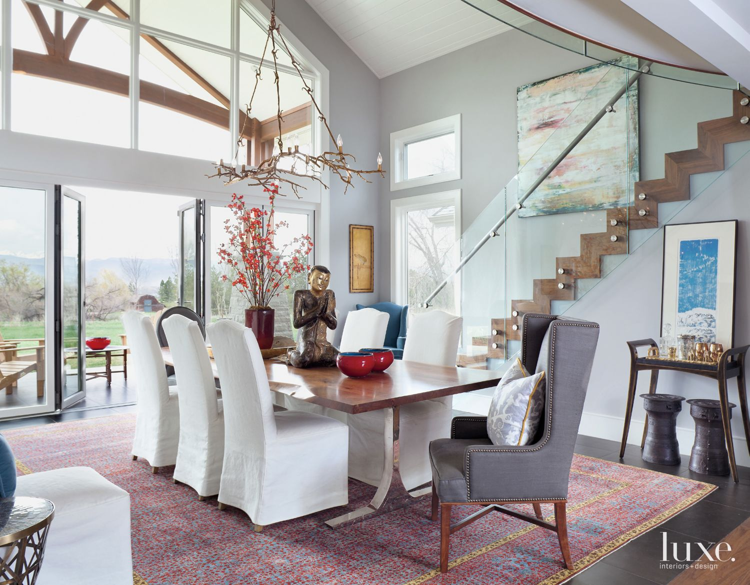 Eclectic Gray Dining Room with Wood-and-Steel Table