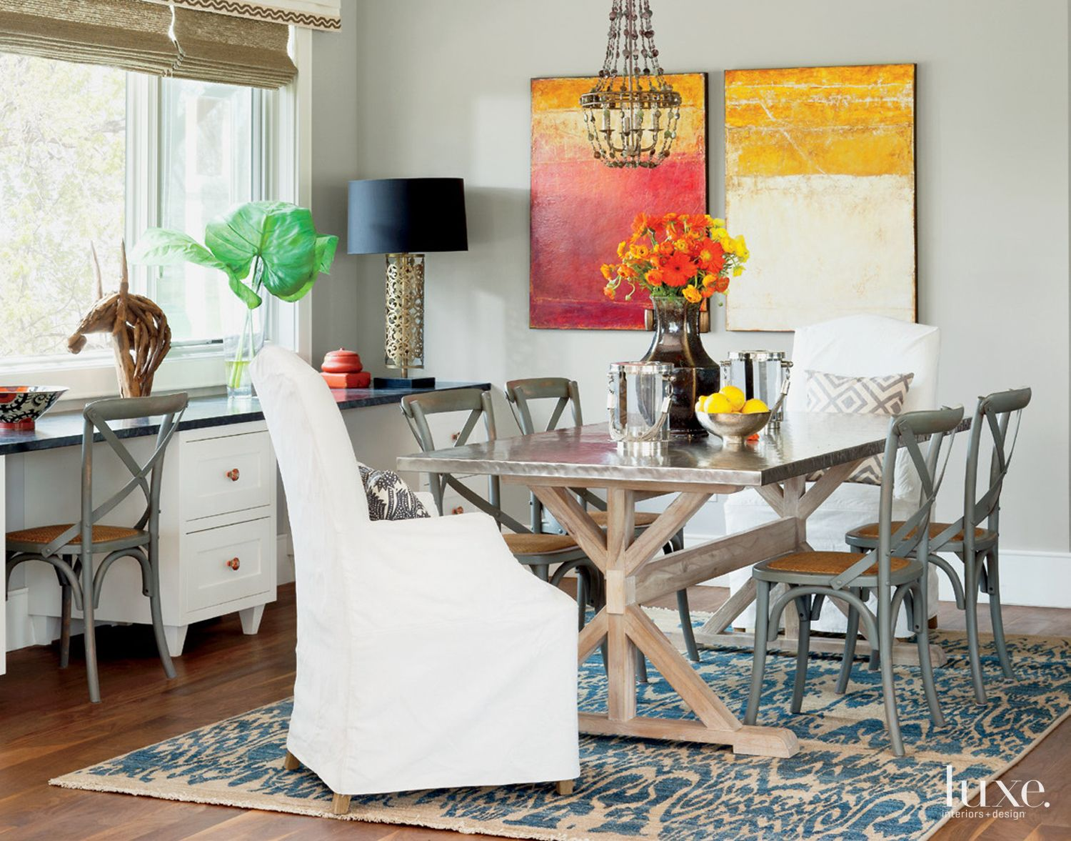 Eclectic Gray Breakfast Nook with Steel-Topped Table