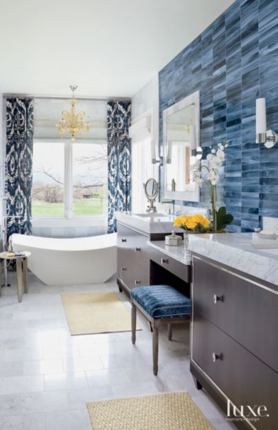 Eclectic White Bathroom With Blue Tile Accent Wall Luxe