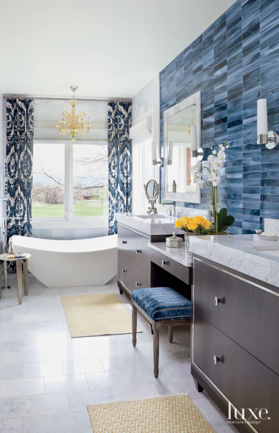 Eclectic White Bathroom with Blue Tile Accent Wall