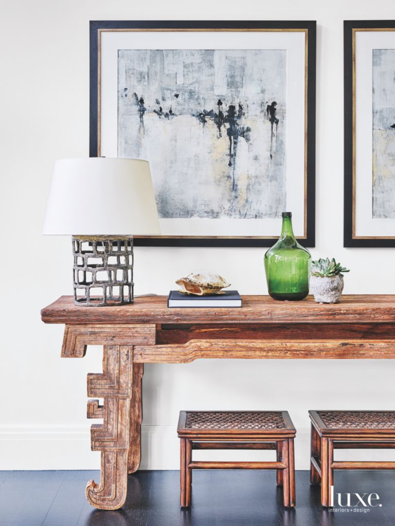Elm Wood Altar Table with Artwork Family Room - Luxe Interiors + Design
