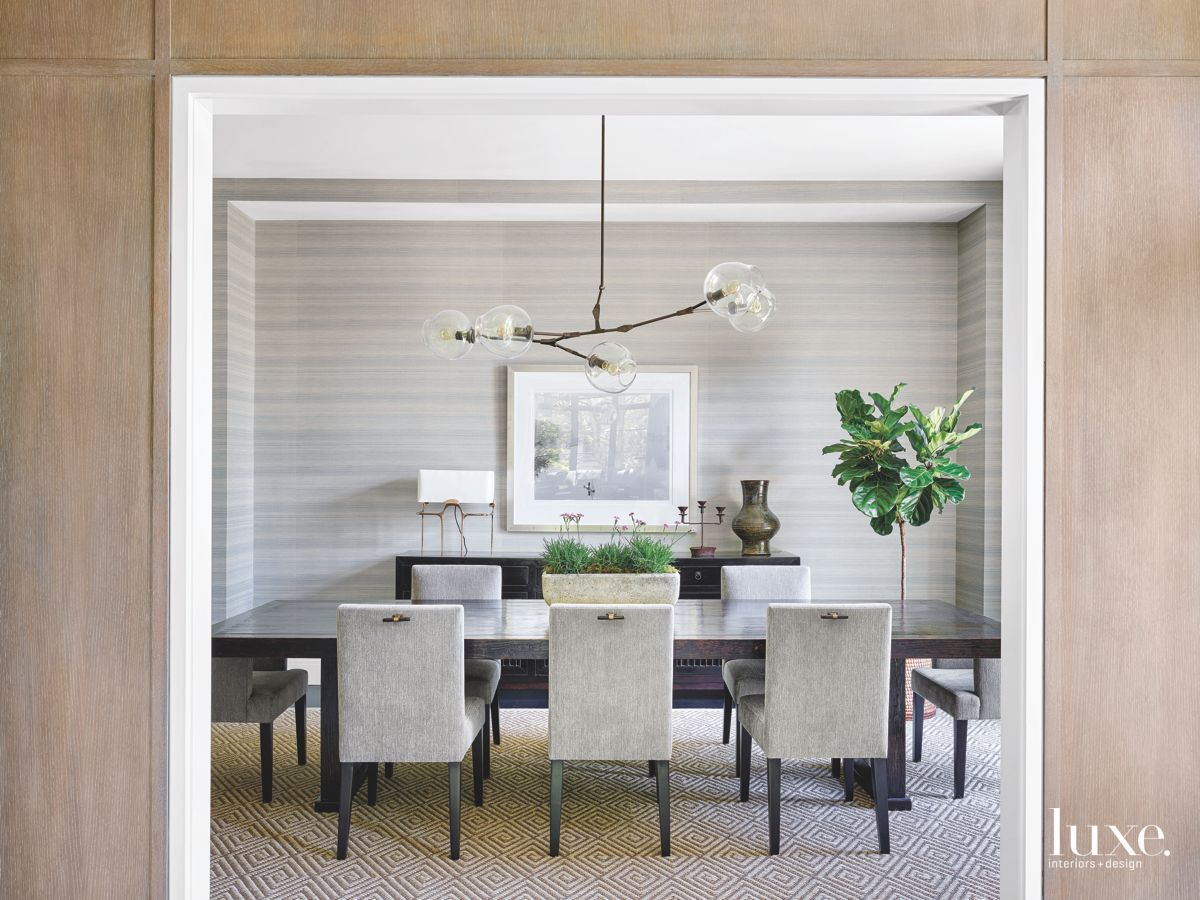 Gray Subtly Striped Dining Room with Chandelier