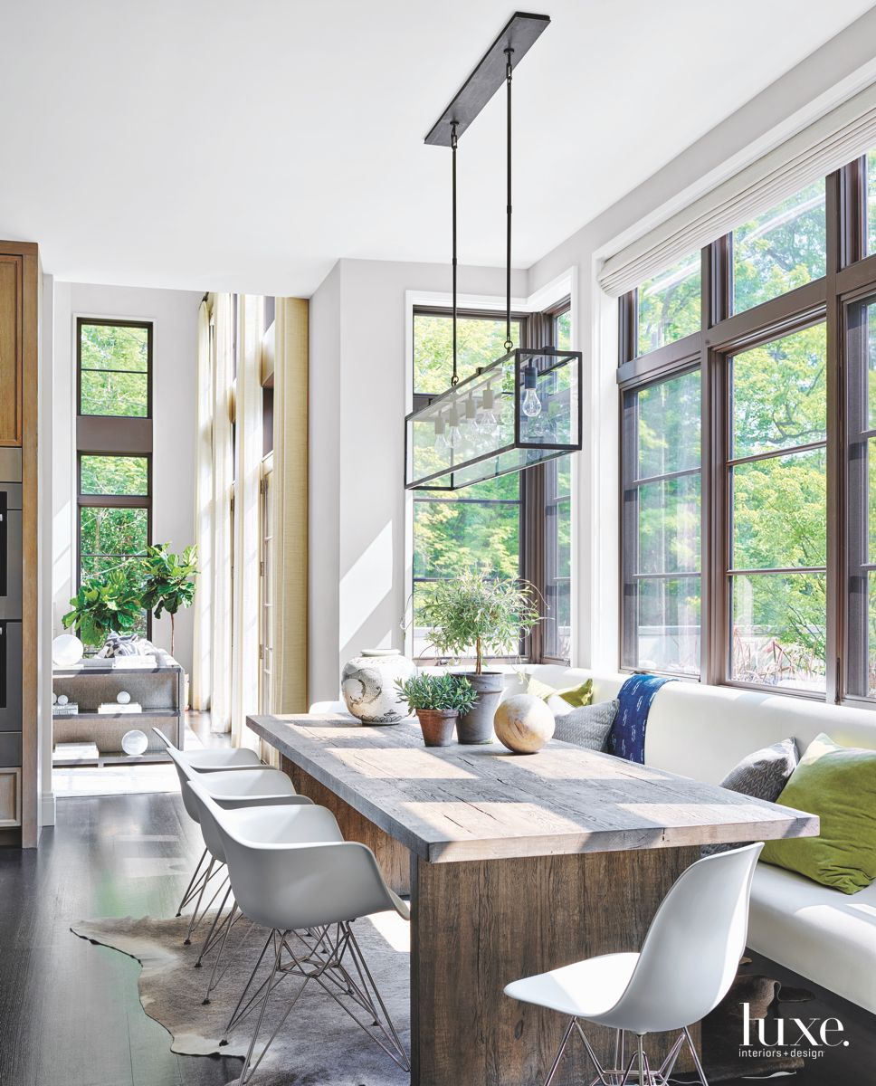 Modern Kitchen Upholstered Banquette with Iconic Seating