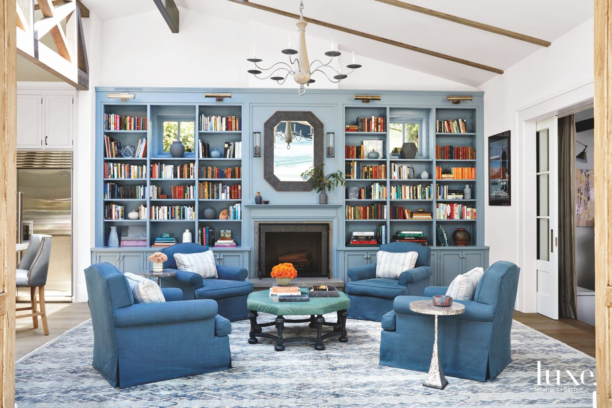 All-Blue Living Room with Library Shelving