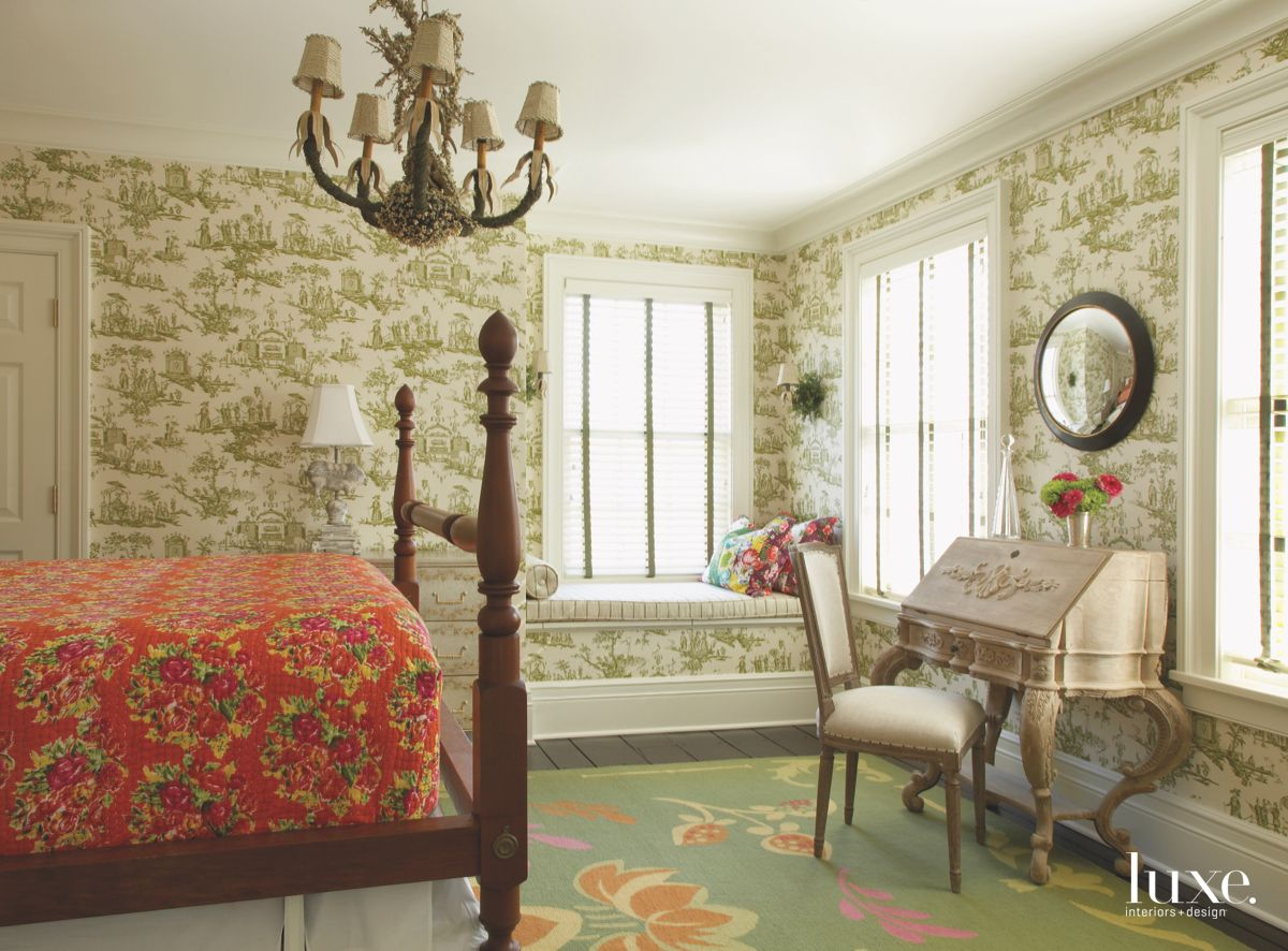 Green Ship Wallpaper with Old Desk Bedroom with Circular Mirror and Window Bench