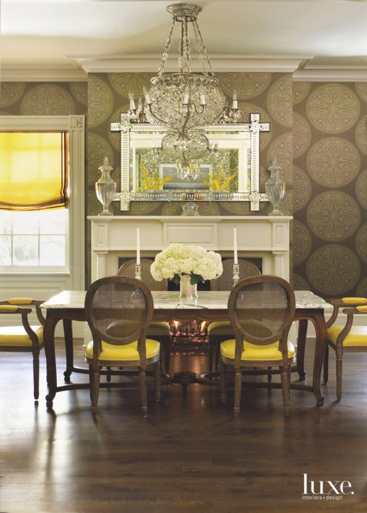 Original fireplace formal dining room with dark circular wallpaper related market aloadofball