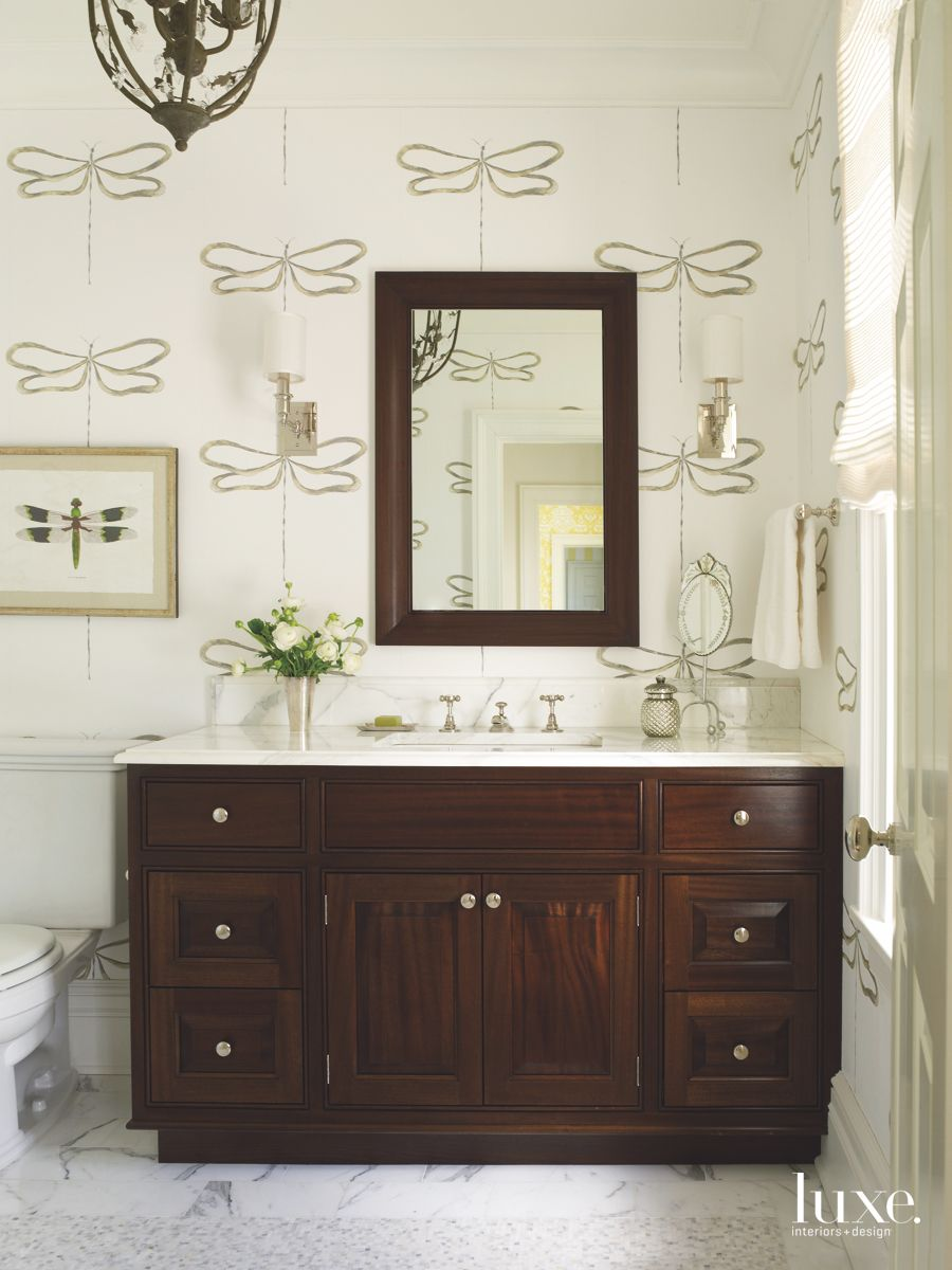 Dragonfly Wallpaper Bathroom with Dark Cabinetry