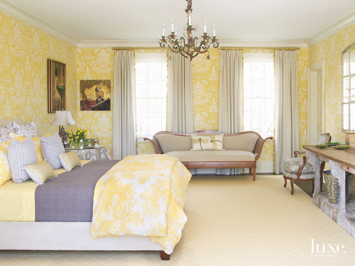 Yellow Patterned Master Bedroom Wallpaper with Purple Accent Bedding with Windows and Bench